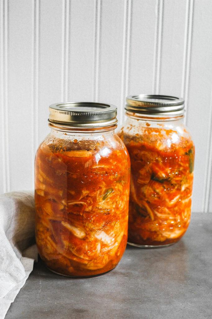 Kimchi with Daikon and Scallions 1 | roottoskykitchen.com