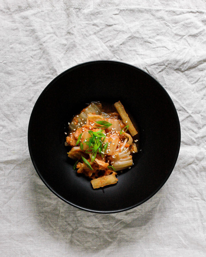 Kimchi with Daikon and Scallions 3 | roottoskykitchen.com