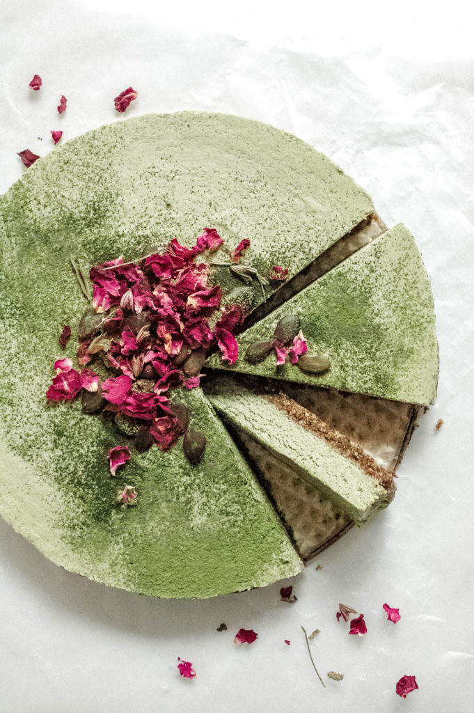 Nootropic No Bake Matcha Coconut Lime Cake with a Reishi Infused Crust 1 | roottoskykitchen.com
