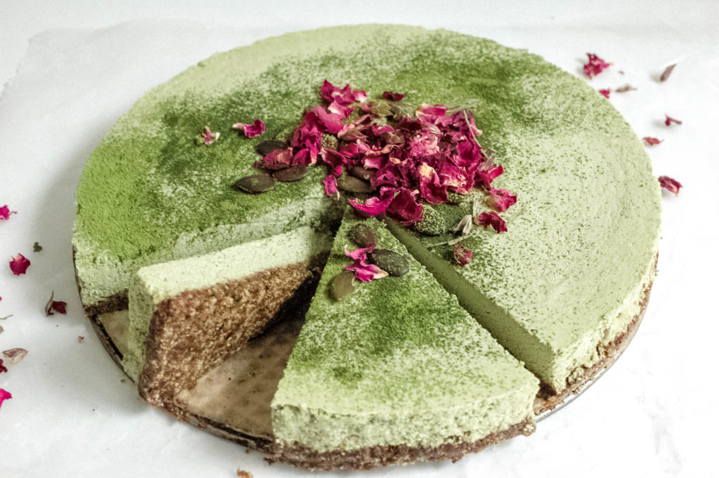 Nootropic No Bake Matcha Coconut Lime Cake with a Reishi Infused Crust 5 | roottoskykitchen.com