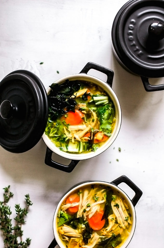Pasture Raised Chicken Soup with Ginger, Kombu, and Herbs 2- | roottoskykitchen.com