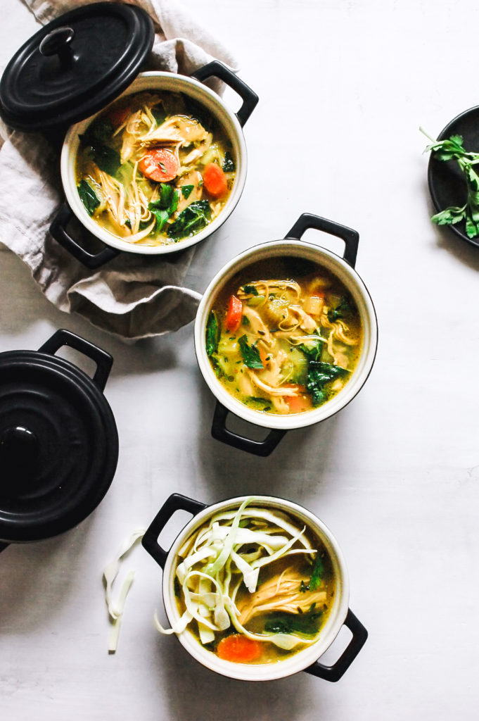 Pasture Raised Chicken Soup with Ginger, Kombu, and Herbs 3- | roottoskykitchen.com