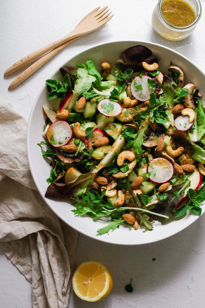 Spring Cleanse Salad with Spiced Activated Nuts and Mustard Flax Seed Dressing 1 | roottoskykitchen.com